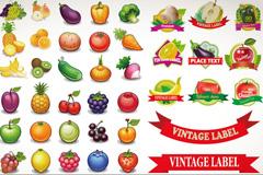 美味瓜果与标签矢量素材