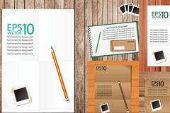 记事本与铅笔设计矢量素材