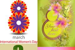 妇女节鲜花装饰海报矢量素材
