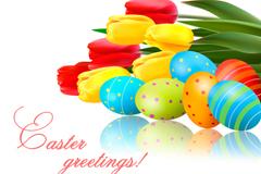复活节彩蛋花卉背景矢量素材