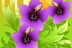多彩花卉装饰背景矢量素材