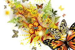 绚丽春天蝴蝶背景矢量素材