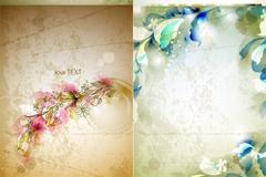 淡雅花卉背景设计矢量素材