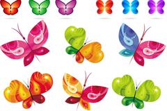 炫彩蝴蝶图标设计矢量素材