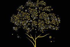 圆圈装饰树矢量素材