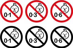 玩具年龄警告图标矢量素材