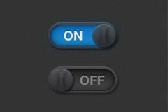 黑色开关滑动按钮PSD素材