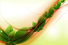 清新绿叶背景矢量素材