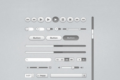 灰色基础界面元素PSD素材