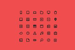 简易30个像素图标PSD素材