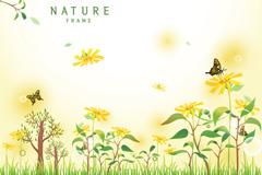 花丛与蝴蝶背景矢量素材