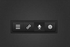 四个黑色界面按钮PSD素材