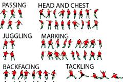 足球运动姿势动作矢量素材