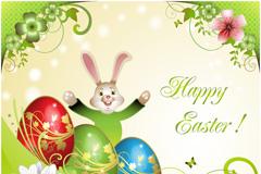 复活节彩蛋兔子背景矢量素材