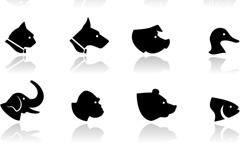 动物头像剪影矢量素材