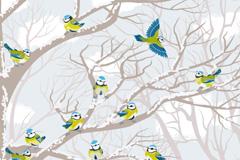 冬季鸟雀矢量素材