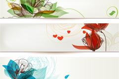 手绘花卉横幅设计矢量素材