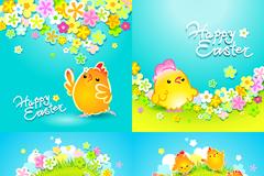 复活节花卉小鸡背景矢量素材