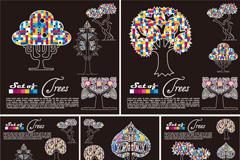时尚花纹树木矢量素材