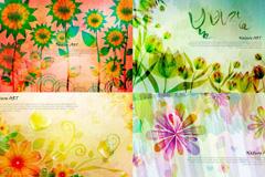 水彩手绘花卉背景矢量素材