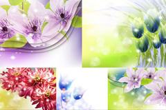 梦幻花朵设计矢量素材