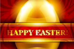 金色彩蛋复活节贺卡矢量素材