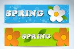 春季花朵贴纸横幅矢量素材