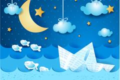 月夜纸船标贴画矢量素材