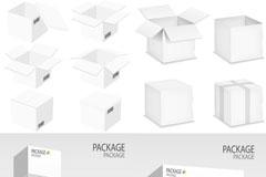 白色包装盒模版矢量素材