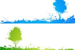 彩绘树木横幅矢量素材