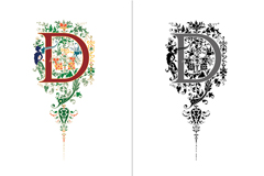花式英文字母设计矢量素材