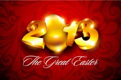 2013复活节金色字体矢量素材