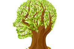 创意树叶人脑矢量素材