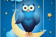 月夜猫头鹰矢量素材