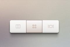 3个白色长方形按钮PSD素材