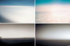 飞机上云层和地平线虚化背景图片