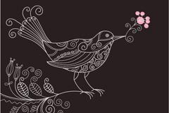 手绘花纹小鸟矢量素材