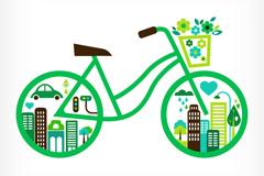 创意卡通自行车矢量素材