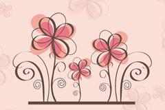 清新花卉背景设计矢量素材