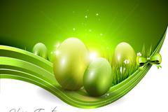 清新绿色复活节彩蛋矢量素材