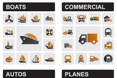 创意交通工具图标矢量素材