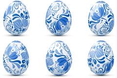 美丽蓝色花纹彩蛋矢量素材
