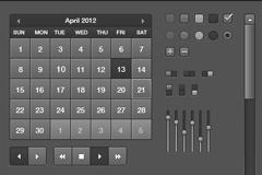 黑色日历加界面元素PSD素材