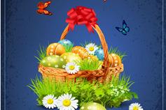 复活节彩蛋花篮矢量素材