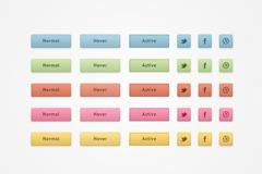 彩色图标按钮PSD素材