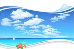 美丽海洋风景矢量素材