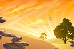 魅力夕阳背景矢量素材