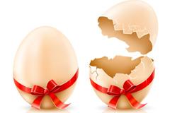 卡通丝带鸡蛋矢量素材