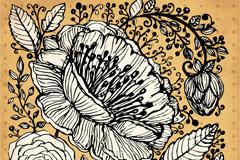 复古手绘花卉矢量素材