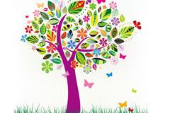花卉蝴蝶彩树矢量素材